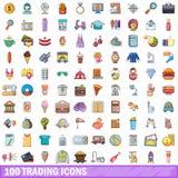 100 Handelsikonen eingestellt, Karikaturart Stockfotos