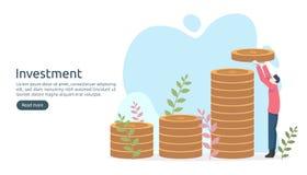Handelsinvesteringenconcept het muntstuk van de dollarstapel, uiterst kleine mensen, geldvoorwerp grafische grafiekverhoging De f royalty-vrije illustratie