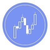 Handelskaarsen Vlak pictogram Symbool De blauwe cirkel Stock Foto's