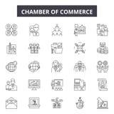 Handelskammare fodrar symboler, tecken ställde in, vektorn Handelskammareöversiktsbegrepp, illustration: kommers kammare vektor illustrationer