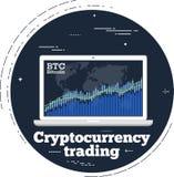 Handelskonzept Cryptocurrency in der Linie Kunstart Lizenzfreies Stockfoto