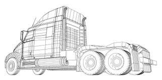 Handelslieferungs-Fracht-LKW-Vektor für Markenidentität und Werbung lokalisiert Geschaffene Illustration von 3d draht lizenzfreie abbildung