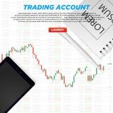 Handelsplattformkonto UI Unternehmensanalyse und Investierung Markthandel Binäre Wahl Geldherstellung lizenzfreie abbildung