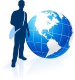 Handelsresande för ung man runt om världen Arkivbild