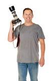 Handelsresande för ung man som tar bilder vid den isolerade dslrkameran Arkivbilder
