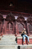 Handelsresande i den Durbar fyrkanten på Katmandu Nepal Arkivbild