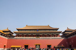 Handelsresande i den Forbidden City Peking Arkivbilder