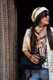 Handelsresande i den Hanuman Dhoka Durbar fyrkanten på Katmandu Nepal Arkivbild