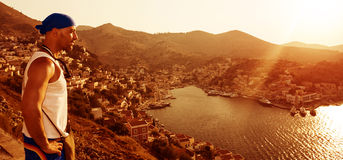 Handelsresande i Europa den kust- staden Arkivfoto