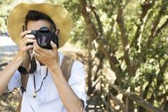 Handelsresande med kameran arkivfoton