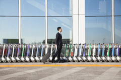 Handelsresande med resväskan bredvid rad av bagagevagnar på flygplatsen Arkivbild