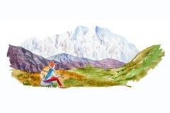 Handelsresande- och bergpanorama med sjövattenfärgillustrationen royaltyfri illustrationer