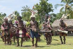 Handelsresande och dansare i Papua Nya Guinea Royaltyfri Foto