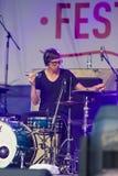 Handelsresande och Percussionist Oli Rubow av världen berömda Jazz Ensemble De-Phazz Performing på En-Festen fotografering för bildbyråer