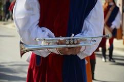 Handelsresande och trumpetare av Oristano - Sardinia Royaltyfria Bilder