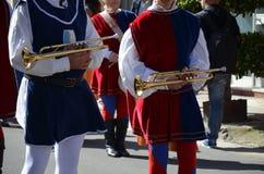 Handelsresande och trumpetare av Oristano - Sardinia Arkivbilder