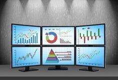 Handelsstation mit Finanzdaten Stockbild