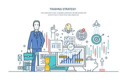 Handelstrategi Finansiell aktiemarknad, skydd av kapitalmarknaden, e-kommers vektor illustrationer