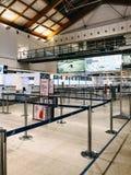 Handelszentrum 2019 Italiens, VENEDIG: Flughafen-Marco Polo-Innenraum ohne Leute stockfoto