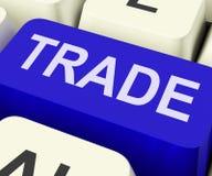 Handeltangenten visar online-köpande och sälja Royaltyfria Bilder