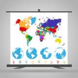 Handelutställningställning med den politiska världskartan, jordklotet och markörer Arkivbilder