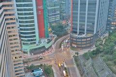 handelzaken en een industriezone bij HK stock afbeelding