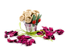Handemade flowers and pink potpourri Royalty Free Stock Photos