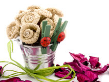 Handemade flowers and pink potpurri Stock Photography