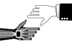 Handen av en person och en robot som pekar till något Teknologisk eller industriell bakgrund Arkivbild