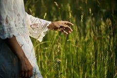 Handen av kvinnan trycker på högväxt gräs royaltyfri fotografi