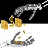 Handen av roboten sätter pengar vektor illustrationer