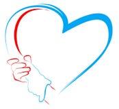 Handen die aan hartvorm houden Stock Foto