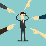 Handen die aan schuldzakenman richten stock illustratie
