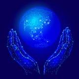 Handen die aardebol houden Van het bedrijfs besparingsmilieu concept Netwerkgegevens over de wereld Het continent van Azië - Japa royalty-vrije illustratie