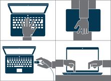 Handen die computer met behulp van royalty-vrije stock foto
