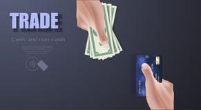 Handen die creditcard en geldrekeningen houden Vector illustratie royalty-vrije illustratie