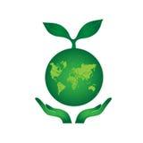 Handen die de Groene Aardebol houden Stock Foto's
