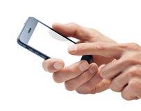 Handen die de Telefoon van de Cel met behulp van