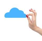Handen die document wolken op witte achtergrond houden SMAU 2010 - de wolk van Microsoft gegevensverwerking Royalty-vrije Stock Foto's