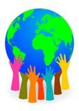 Handen die een bol steunen royalty-vrije illustratie