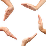 Handen die een cirkel geïsoleerdh maken Stock Afbeeldingen