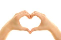 Handen die een hart vormen Stock Foto