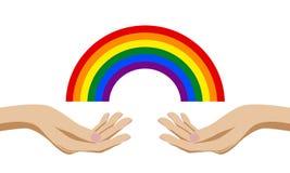 Handen die een regenboog van huwelijk van het kleuren het communautaire zelfde geslacht houden royalty-vrije illustratie