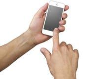 Handen die een telefoon op wit houden Stock Afbeeldingen