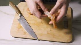 Handen die garnalenshells opstijgen vóór kok stock video