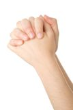 Handen die in gebed worden gesloten Stock Foto's