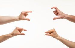 Handen die grootte tonen Stock Foto's