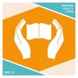 Handen die het pictogram van de boekbescherming houden Stock Afbeeldingen