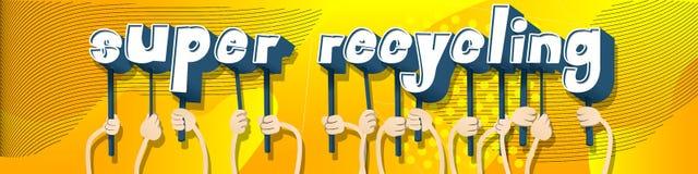 Handen die het woord Super Recycling houden royalty-vrije illustratie