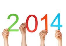 Handen die 2014 houden Stock Afbeeldingen